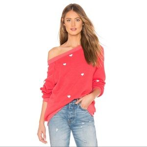 NWT Wildfox Lovestruck Sommers Sweater Red Heart L